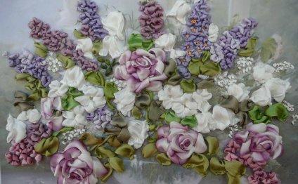 Цветы из лентдуэтное