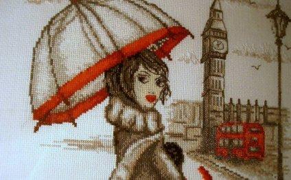 Картина Лондон , вышитая