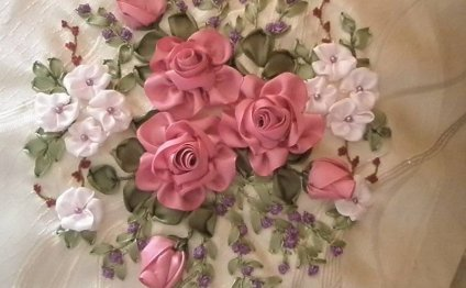 Вышивка лентами цветы - Схемы